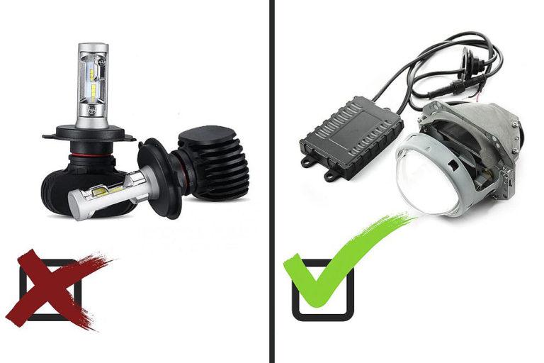 Почему нельзя ставить светодиодные лампы в линзы. Сравниваем Led лампочки и Biled линзы.