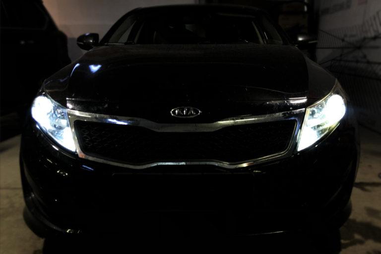 Kia Optima 3. Замена галогеновых линз на Vision Bi-Led Advance.